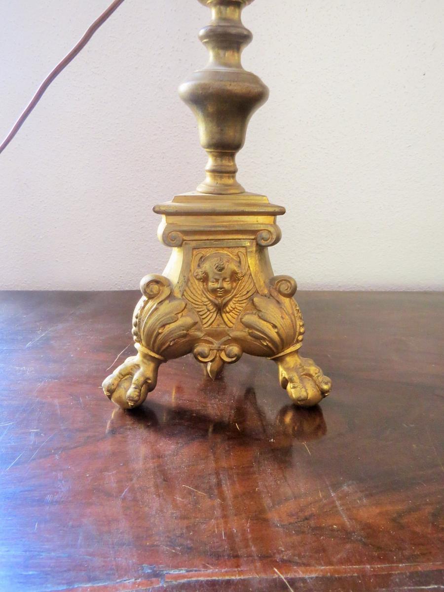Pique Cierge Hollandais En Bronze Doré-photo-3