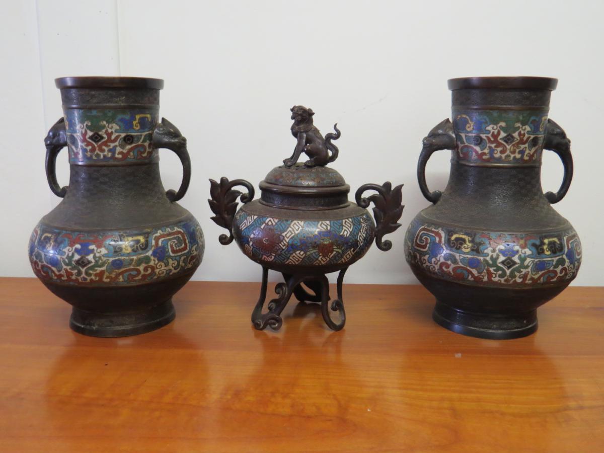 Assez Ensemble Vases Et Brule Parfum Cloisonnés asie - Bronzes anciens QL43