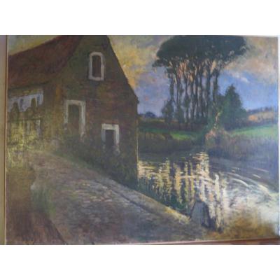Grand Tableau Paysage Au Moulin