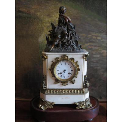 Pendule Bronze Et Marbre Epoque XIXè