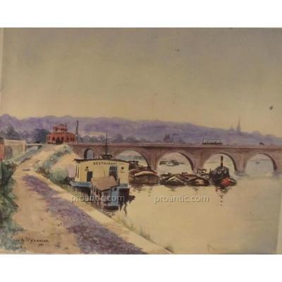 Aquarelle Signée  Jean De Meixmoron ecole de nancy lorraine  En 1931