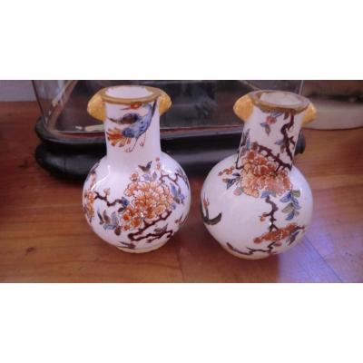 Paire De Vases En Faience De Gien 19è