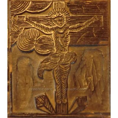 Matrice En Bois 16/17è Xylographie Christ