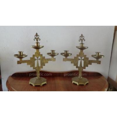 Paire De Chandeliers Religieux Art Deco