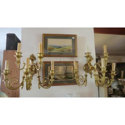 Paire d'Appliques En Bronze De Style Louis 16