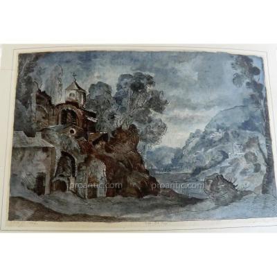 Gravure Aquarellée Cabinet Du Roi 1604