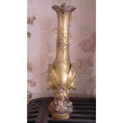 Vase En Bronze Art Nouveau Signé Ch De Voorde