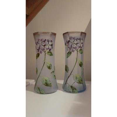 Paire De Vases Emailles Legras Decor Floral
