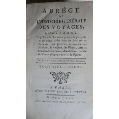 Abrégé De l'Histoire Generale Des Voyages Par M De La Harpe 1780