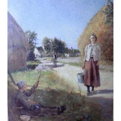 Scene De Genre Postimpressionniste Ecole Belge Ou Française