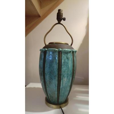 Grand Vase En Gres Art Deco Signé