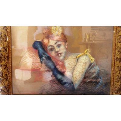Pastel Jeune Femme Epoque Toulouse Lautrec