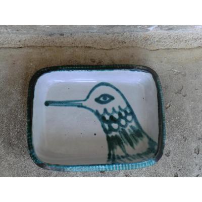 Plat Signé Robert Picault Decor Oiseau