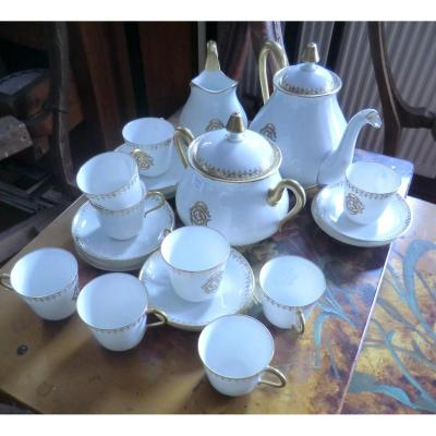 Service A Cafe En Porcelaine De Limoges Monogramé