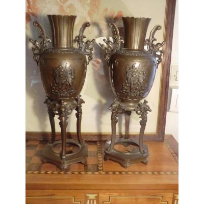 Paire De Vases Bronze Asie