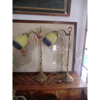 Large Pair Of Bronze Art Deco Lamps