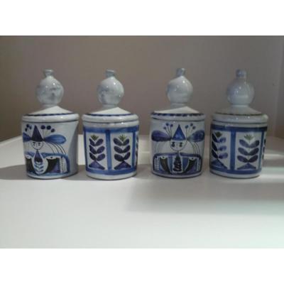 Serie De 4 Pots Couverts Roger Capron