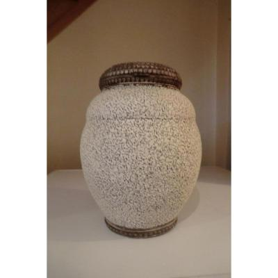 Vase Art Deco Email Crispé Attr A Jean Besnard