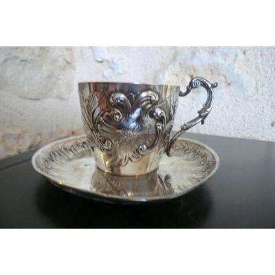 Tasse Et Sous Tasse En Argent Massif De Style Rocaille