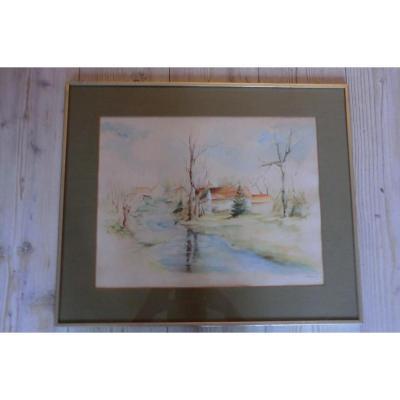Aquarelle Paysage Rosine De Vynck Artiste Flamand Flandres