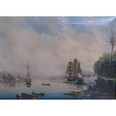 Marine Signée Cheri François Dubreuil(1828/1880) caraibes bresil cuba