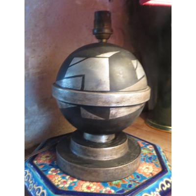 Art Deco Lamp Base In Metal With Double Patina Silver Signed