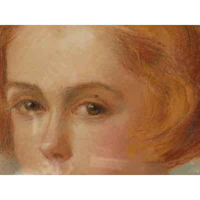 Portrait Of Young Oval Girl With Framing Signed Hondary