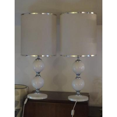 Very Large Pair Of Lamps From Philippe Barbier