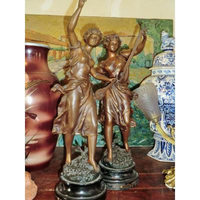 Paire De Statues Ernest Rancoulet