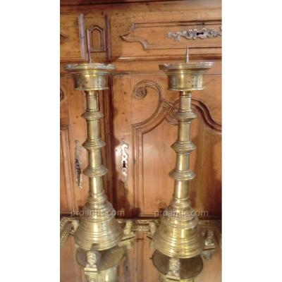 Pair Of Candlesticks In Gothic Style