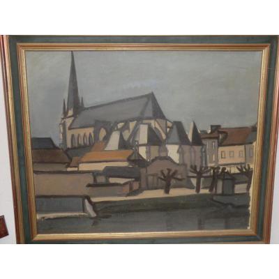 Tableau Vue d'église Avec Village de  nemours