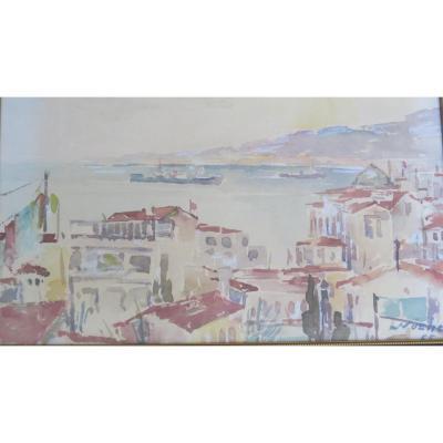 Vue d'Un Port Sur Le Bosphore Turquie Nuzeht 1965