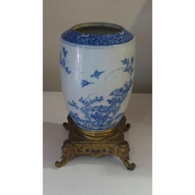 Vietnam Or China Porcelain Vase Gilt Bronze Foot