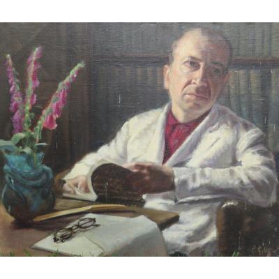 Le Pharmacien De Meneac Monsieur Caillette Dans Son Bureau Par Pierre Gilles