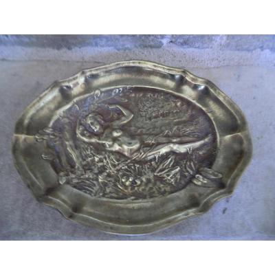 Plat En Bronze Art Nouveau Nu