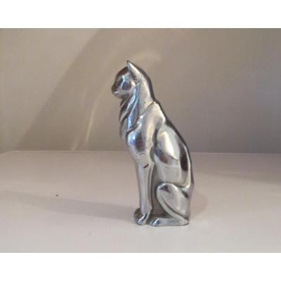 Automobile Mascot Sitting Cat Silver Bronze