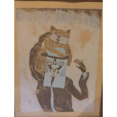 Surrealist Engraving Les Cats Signed