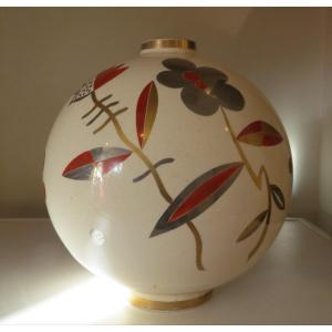 Gustave Asch Sainte Radegonde Gros Vase Boule Art Deco