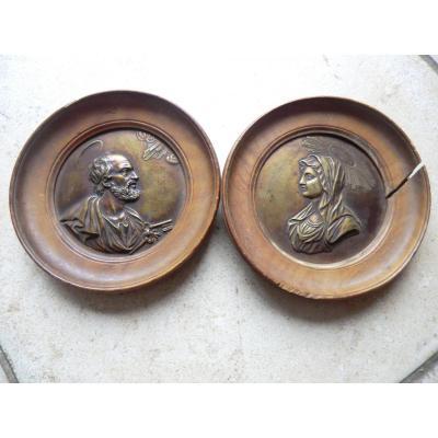 Paire De Médailles La Vierge Et St Pierre 17è