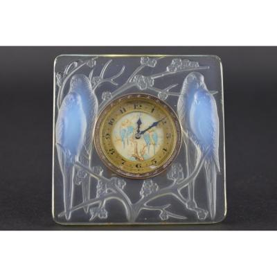 Horloge Inséparables Opalescente René Lalique Avec Cadran Peint