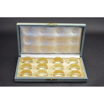 Rene Lalique Rare Coffret De Porte-menu Feuilles
