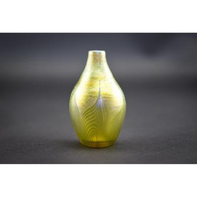 Vase à Plumes Tirées Miniature En Verre Tiffany Favrile