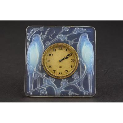 Horloge Inséparables Opalescente René Lalique