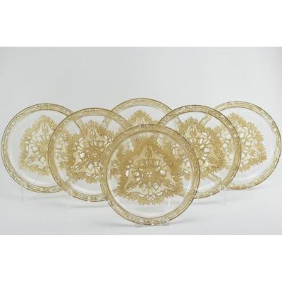 Ensemble De Six Rene Lalique Teinté Sepia Chasse Chiens