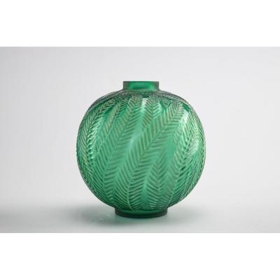 Vase Palmes Vert émeraude René Lalique
