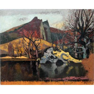 Jean Aujame, Peinture, Huile Sur Toile, Paysage Près Du Lac Chambon, Monts Dore, Auvergne