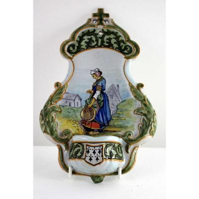 Stoup Faience Of Quimper, Parquier-beau