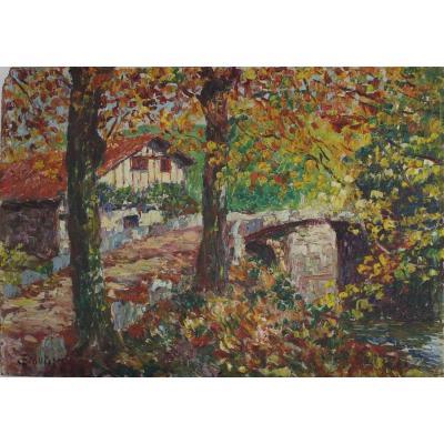 Peinture, pêcheur sur la Nivelle à Ascain, Louis  Floutier