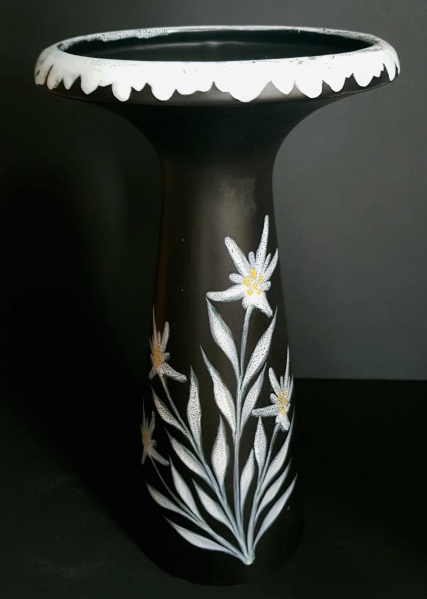 Large Anthracite Earthenware Vase With Edelweiss Decoration - Circa 1960