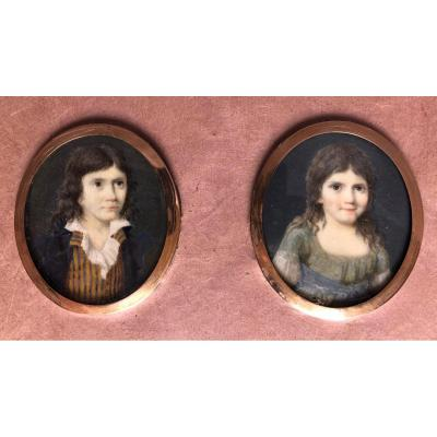 Two Miniatures Of Young Children Painted On Ivory - 18th Century